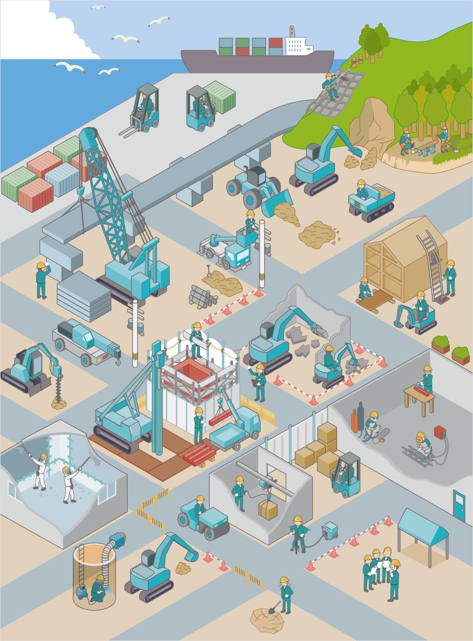 建設や工場の現場イラストから必要な資格を探す 岐阜教習センター